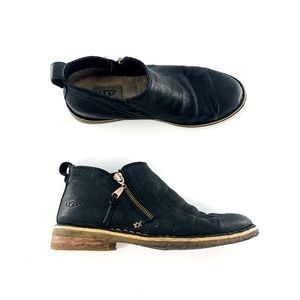 Ugg Black Leather Clementine Ankle Boots